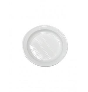 Plato llano de 20.5 cm plastico blanco Paq x 100