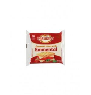 Queso procesado 10 lonchas 200gr President toast sabor emmen
