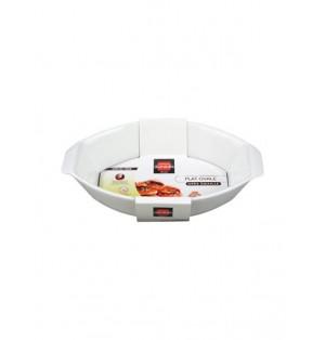 Plato ovalo blanco p/ horno 34x21cm Domedia