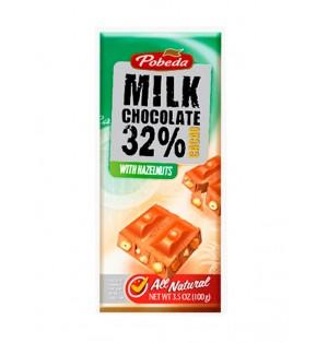 Tableta Chocolate c/Leche y avellanas  32% Cacao 100G Pobeda