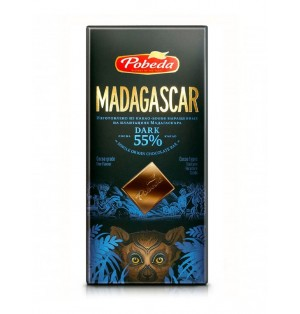 Tableta Chocolate Negro Madagascar 55% 100 g Pobeda