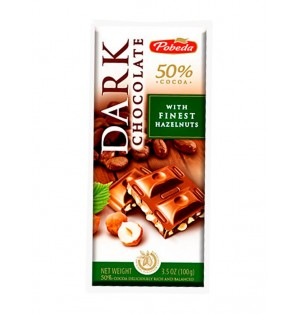 Tableta Chocolate Negro c/ avellanas 50% Cacao 100G Pobeda