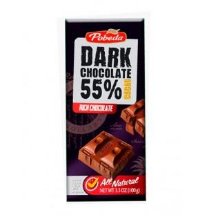 Tableta Chocolate Negro 55% Cacao 100G Pobeda